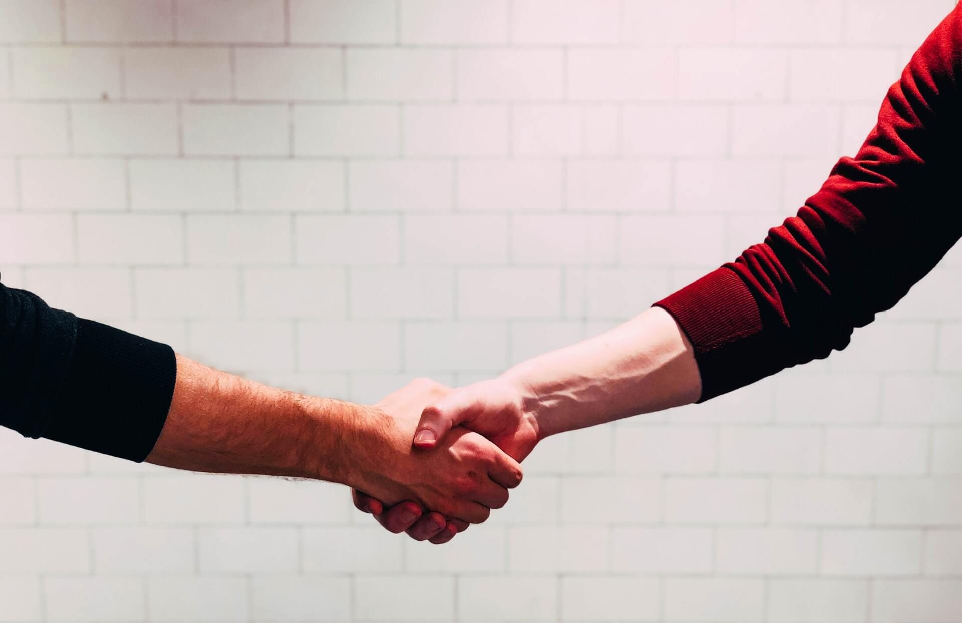 Two people shaking hands (stock photo)